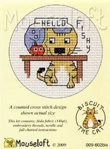 Mouseloft Hello Fishy Biscuit the Cat cross stitch kit